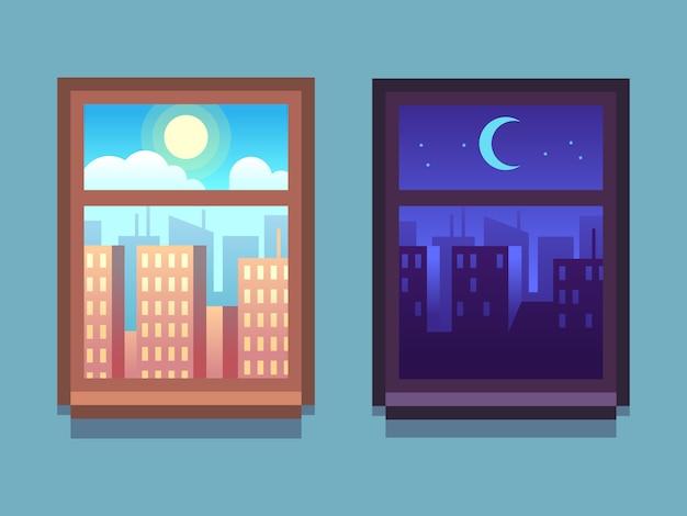Dag en nacht venster. beeldverhaalwolkenkrabbers bij nacht met maan en sterren, bij dag met zon binnen huisvensters.
