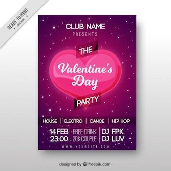 Dag grote valentijnsdag poster met glanzende hart
