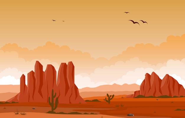 Dag in uitgestrekte west-amerikaanse woestijn met cactus horizon landschap illustratie