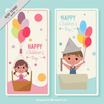 Dag leuke kinderen kaarten in vintage stijl