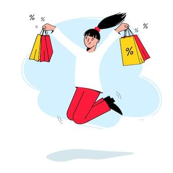 Dag met grote kortingen. gelukkig meisje met winkelen in haar handen. vector