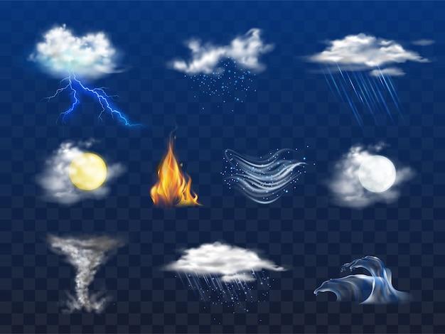 Dag, nacht weersvoorspellingspictogram, natuurramp