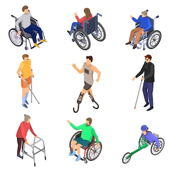 Dag personen handicaps icon set