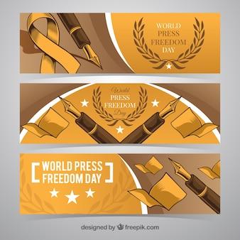 Dag persvrijheid wereld met pen schetsen banners