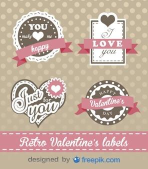 Dag retro valentijnsdag labels mooi design