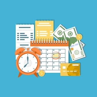 Dag van betaling belasting. inkomsten federale belasting, maandelijkse afbetaling, tijdsperiode. financiële kalender, klok, geld, contant geld, gouden munten, creditcard, facturen. betaaldag. illustratie