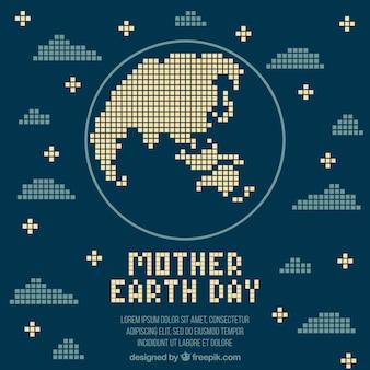 Dag van de aarde achtergrond in pixel art stijl