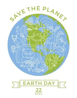 Dag van de aarde. conceptueel ontwerp voor het behoud van de natuur.