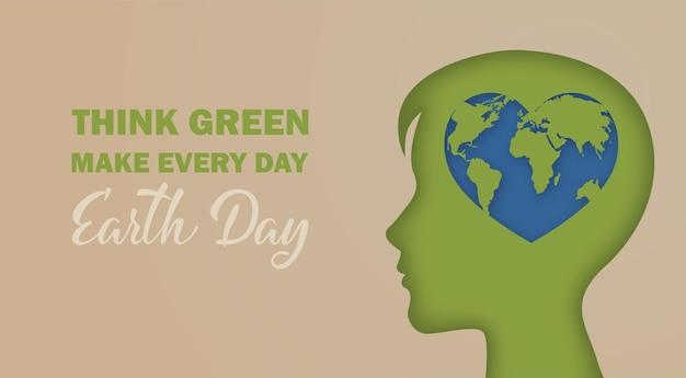 Dag van de aarde. denk groen. hartvorm planet earth globe in silhouet van een menselijk hoofd. ecologie milieuconcept. 3d papercut kunst vectorillustratie. ontwerp voor spandoek, poster, kaart.