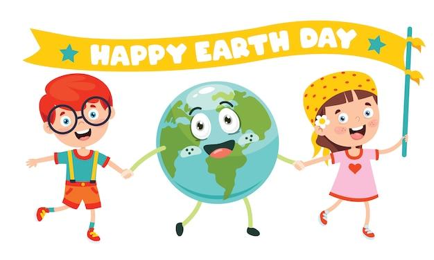 Dag van de aarde met grappig karakter