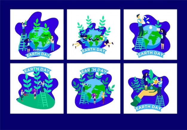 Dag van de aarde post sjablonen