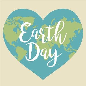 Dag van de aarde. vectorillustratie met de woorden, planeten. hart. liefde.