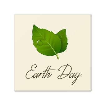 Dag van de aarde, wereldmilieudag, red de aarde of groene dag. achtergrond met bladpaar en druppel dauw. ecologieconcept binnen.