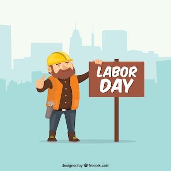 Dag van de arbeid achtergrond met werknemer