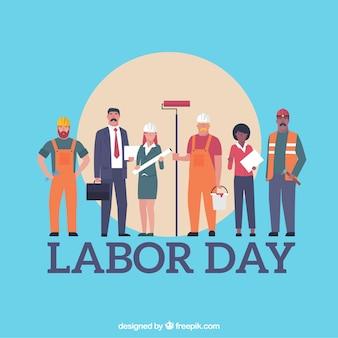 Dag van de arbeid achtergrond met werknemers
