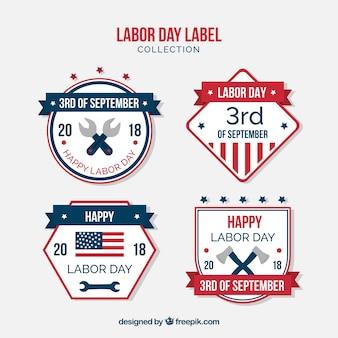 Dag van de arbeid badge-collectie met platte ontwerp