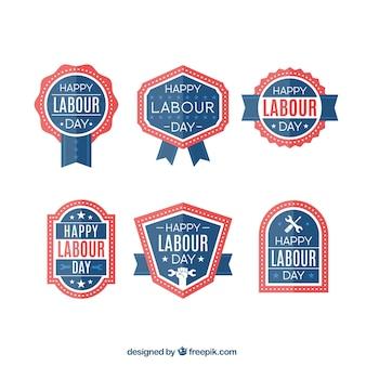 Dag van de arbeid badges in blauw en rood