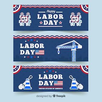 Dag van de arbeid banner plat ontwerp