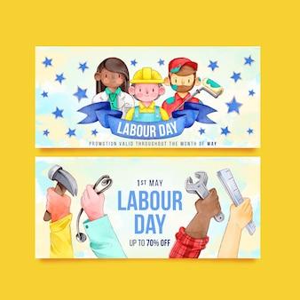 Dag van de arbeid banners ontwerp