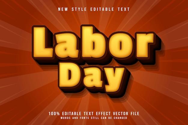Dag van de arbeid bewerkbaar teksteffect 3-dimensionaal reliëf cartoon oranje stijl