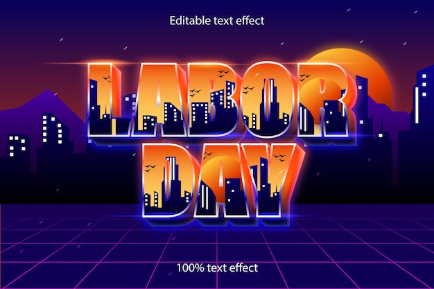 Dag van de arbeid bewerkbare teksteffect retro-stijl
