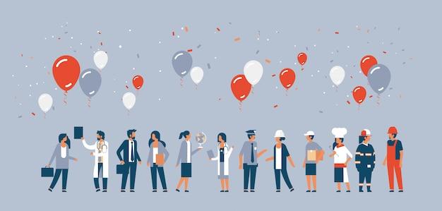 Dag van de arbeid concept met mensen