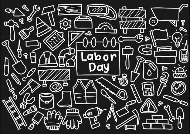 Dag van de arbeid doodle elementen Premium Vector