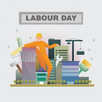 Dag van de arbeid groet achtergrond illustratie