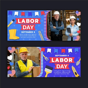 Dag van de arbeid horizontale banners set met foto