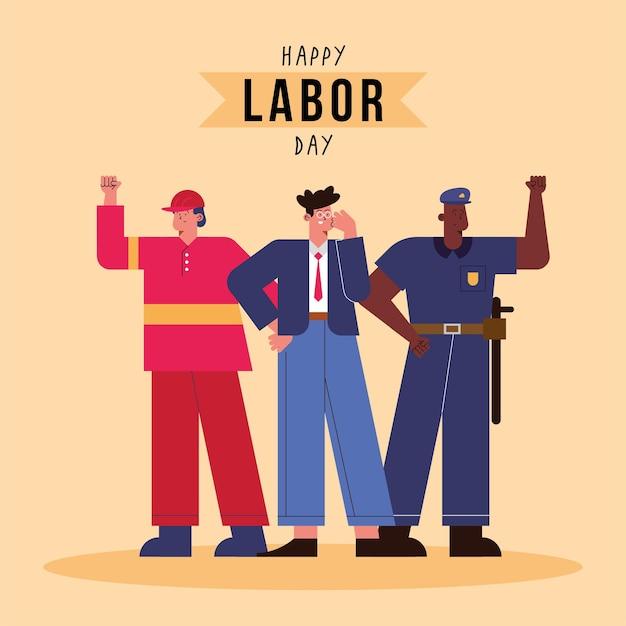 Dag van de arbeid kaart met professionele arbeiders