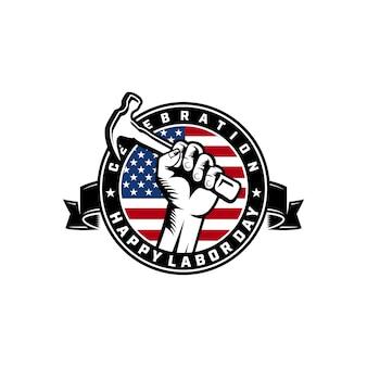 Dag van de arbeid logo achtergrond ontwerp vector