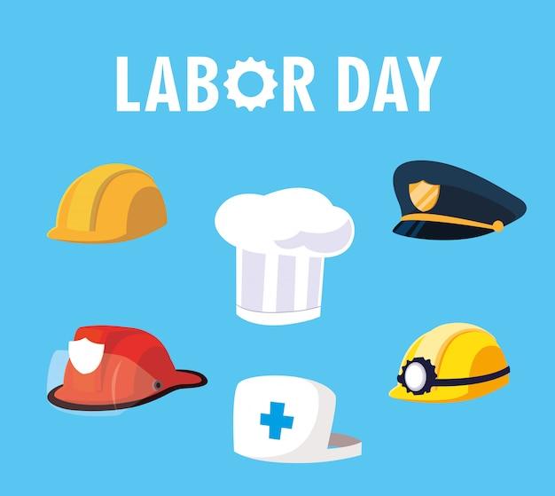 Dag van de arbeid met helmen en hoeden van professionals