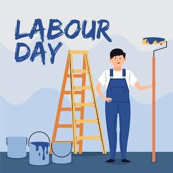 Dag van de arbeid met schilder en ladder