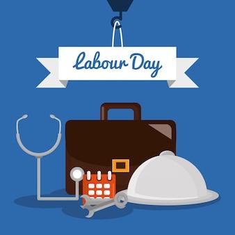Dag van de arbeid. portfolio met sleutelgereedschap en werkelementen