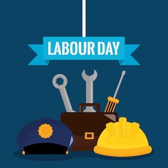 Dag van de arbeid. sleutel sleutels gereedschappen en schroevendraaier met portefeuille