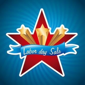 Dag van de arbeid verkoop over blauwe achtergrond vectorillustratie