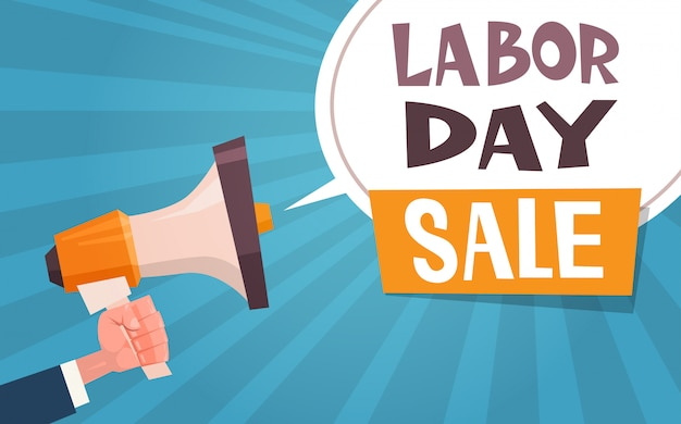 Dag van de arbeid verkoop reclamebanner met hand holding megafoon 1 mei korting concept