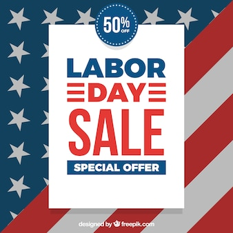 Dag van de arbeid verkoop samenstelling met amerikaanse vlag