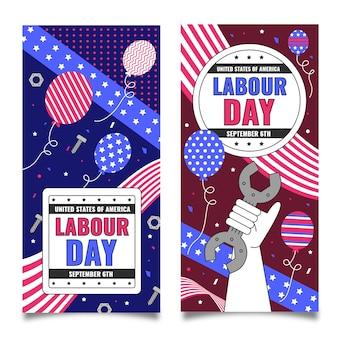 Dag van de arbeid verticale banners set