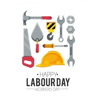 Dag van de arbeid viering met hulpmiddelen van de bouw