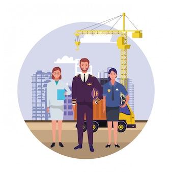Dag van de arbeid werkgelegenheid bezetting nationale viering, professionals werknemers vooraan stad bouw weergave illustratie