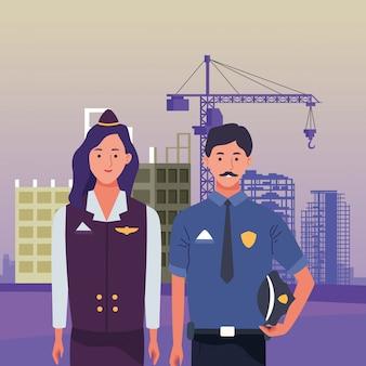 Dag van de arbeid werkgelegenheid bezetting nationale viering, stewardess met politie man werknemers vooraan stad bouw weergave illustratie