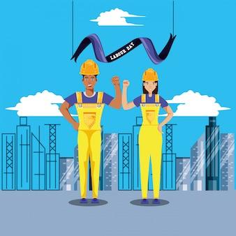 Dag van de arbeidviering met bouwvakkers