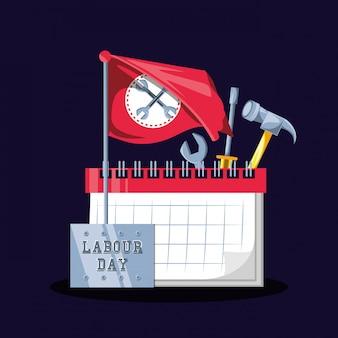 Dag van de arbeidviering met kalender en hulpmiddelen