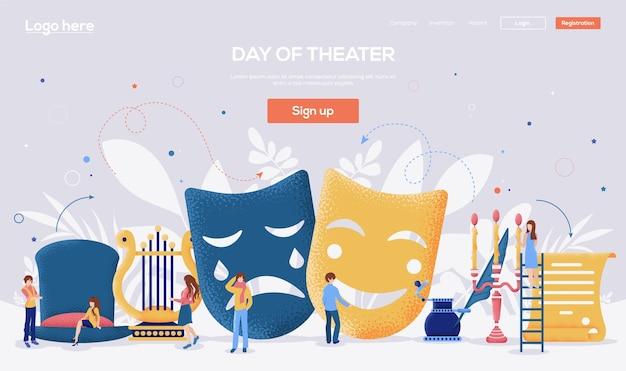 Dag van de bestemmingspagina van het theater