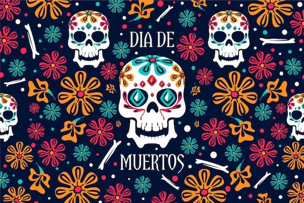 Dag van de dode achtergrond bloemdessin