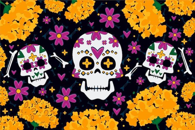 Dag van de dode achtergrond met bloemen