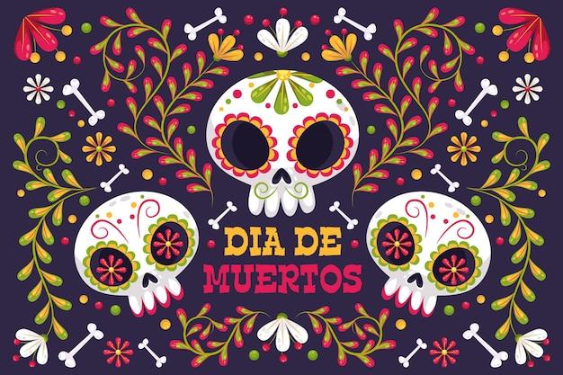 Dag van de dode achtergrond met schedels