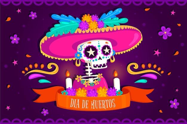 Dag van de dode achtergrond met skelet