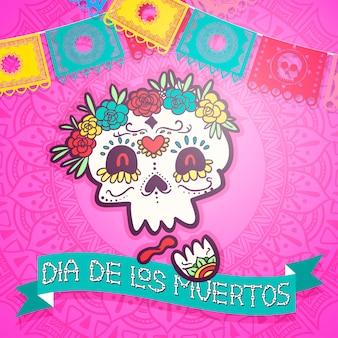 Dag van de dode fiesta viering vectorillustratie